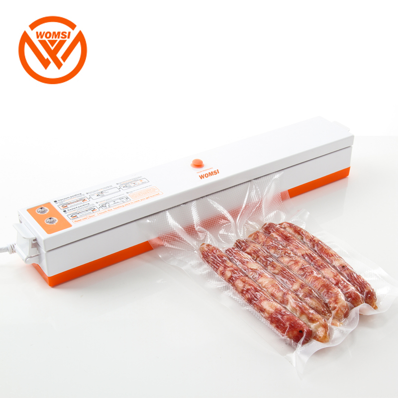 WOMSI  Household Food Vacuum Sealer Packaging Machine Film Sealer Vacuum Packer Including 15Pcs Bags Free