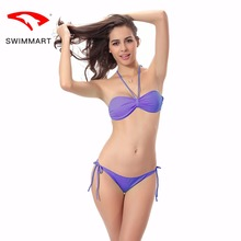SWIMMART bikini pure color hanging neck style code wrapped chest gathered swimsuit swimwear women push up swimming suit