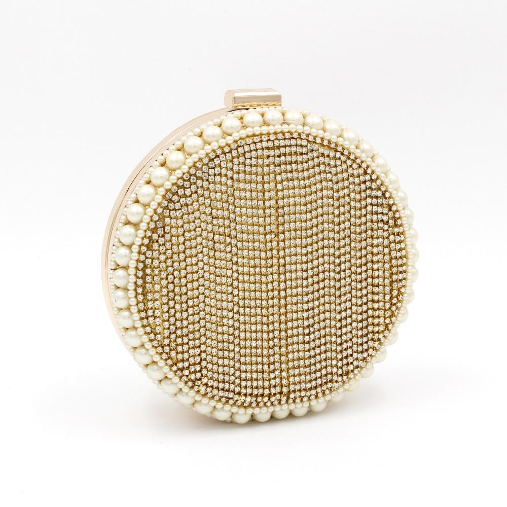 Women bag flash drill tassel round handbag evening gold personalized Messenger shoulder party European style