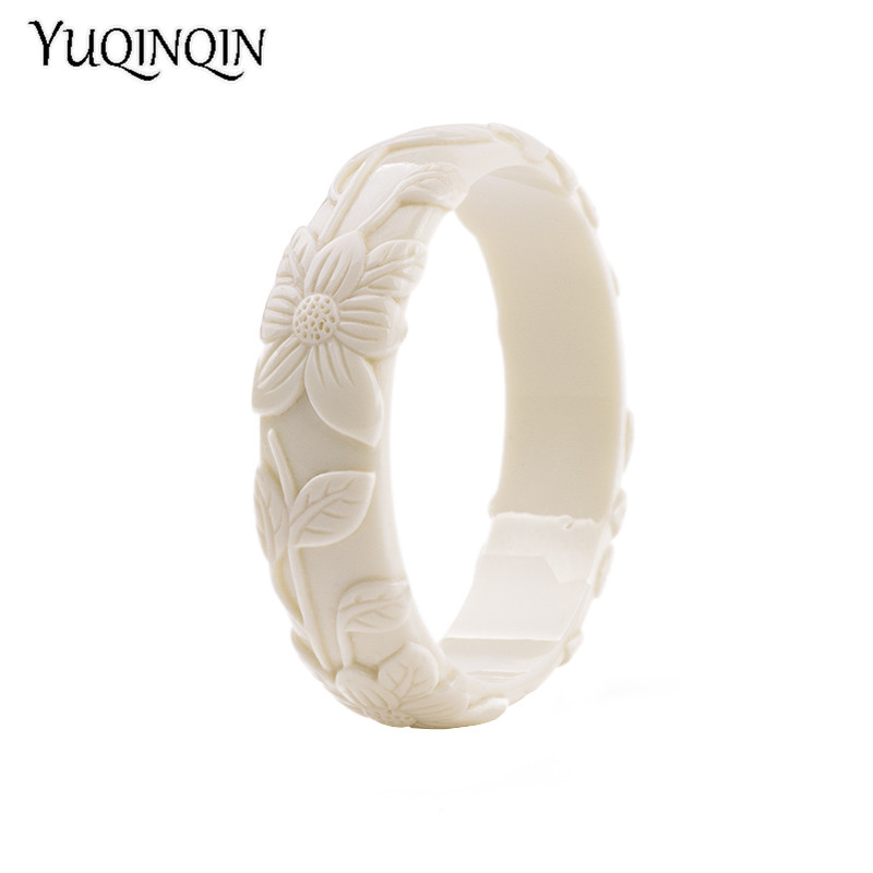 Vintage Resin Cuff Engraved Flowers Bracelets Bangles Acrylic Bracelet Simple Charm Party Jewelry