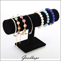 Portable Black Velvet Bracelet Necklace Chain Bangle Watch T Bar Rack Jewelry Display Organizer Stand Holder Case Free Shipping