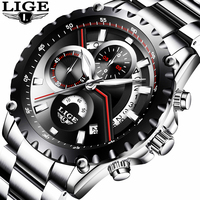 LIGE Sport Men Watch Men Quartz Wristwatch Wrist Stainless Steel Male Clock Army Military Relogio Masculino