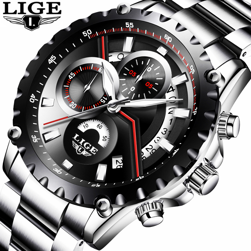 цена на LIGE Sport Men Watch Men Quartz Wristwatch Wrist Stainless Steel Male Clock Army Military Relogio Masculino Hodinky Brand Box 27