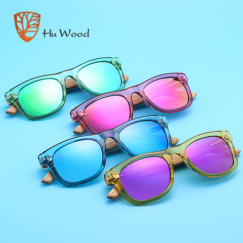 HU WOOD Brand Design Children Sunglasses Multi-color Frame Wooden Sunglasses for Kids Boys Girls Sunglasses Wood GRS1001 Lahore