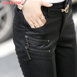 Image 1 - Spring Autumn Casual Leather Pants Women Hot Slim PU Leather Stylish Zipper Fashion Pencil Skinny Trousers For Woman With Belt