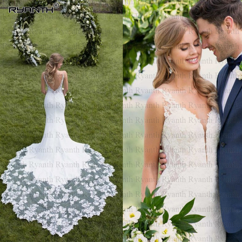 Romantic Backless Vestido De Noiva 2019 Sexy V Neck Spaghetti Strap Lace Mermaid Wedding Dress Custom Made Robe De Mariage