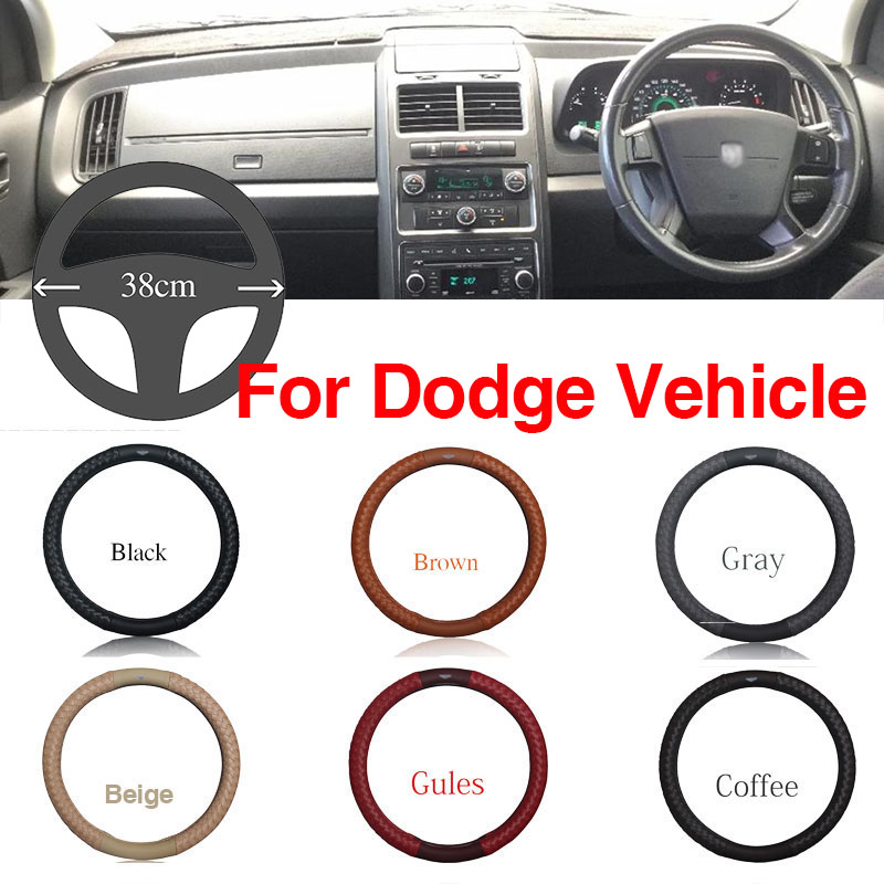 Ipoboo Top PU Leather Diamond weave Plaid Anti-Slip Steering Wheel 6 Colour Choice Cover For Dodge Series Vehicle