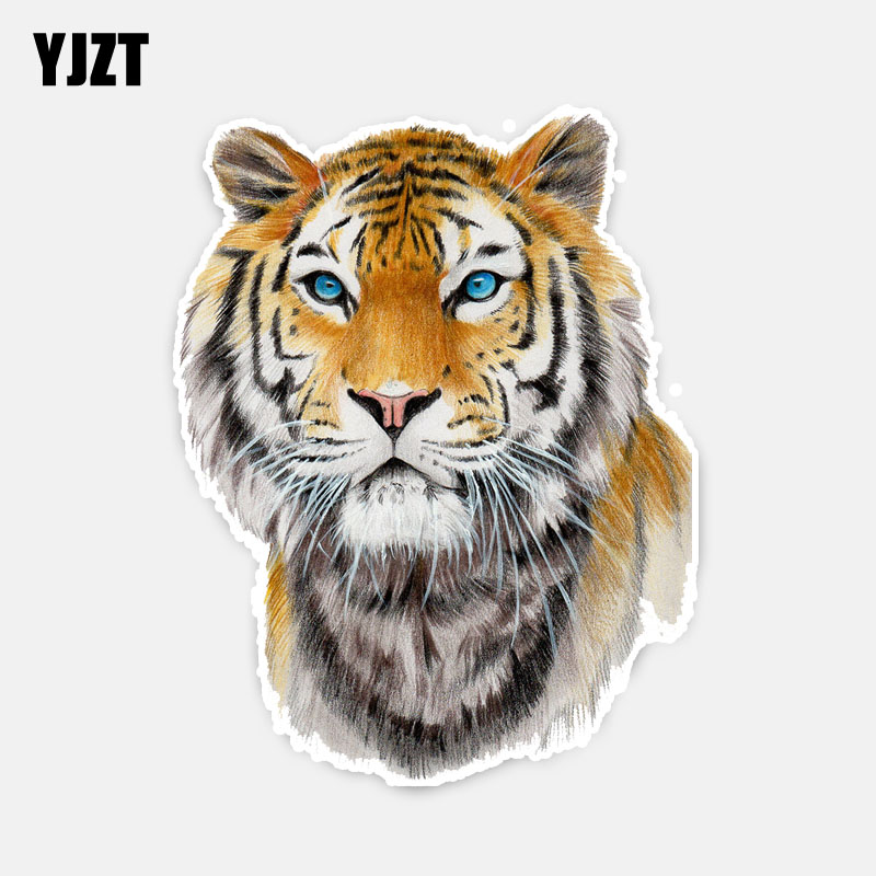 YJZT 12.5CM*16CM Personalized Animal Tiger PVC Decal Car Sticker And Car Accessories 5-0474