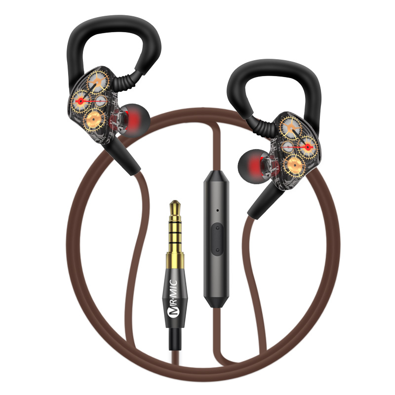 2018 new high quality Heavy subwoofer four-core double moving coil in ear earphone HIFI music listening with microphone diy earphone double moving coil copper ring double unit heavy bass sound field shock