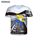 VESONAL 2017 Summer PersonalityWomen T-Shirt Top Tee Cartoon 3D T Shirt Men Fashion Novelty Funny Dog Simpsons Print Tshirt VE35