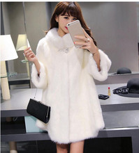 Black/White Women Imitation Mink Fur Jackets Long Section Female Man-Made Fur Overcoats Large Size Casual Faux Fur Outwear Cj49