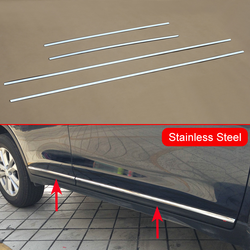 Stainless Steel Door Body Side Molding Trim Cover For Nissan X-Trail Rogue T32 2014 2015 2016 Accessories Parts Express Shipping 4pcs stainless steel side door body molding cover trim for bmw x5 f15 2014 2015 car accessories