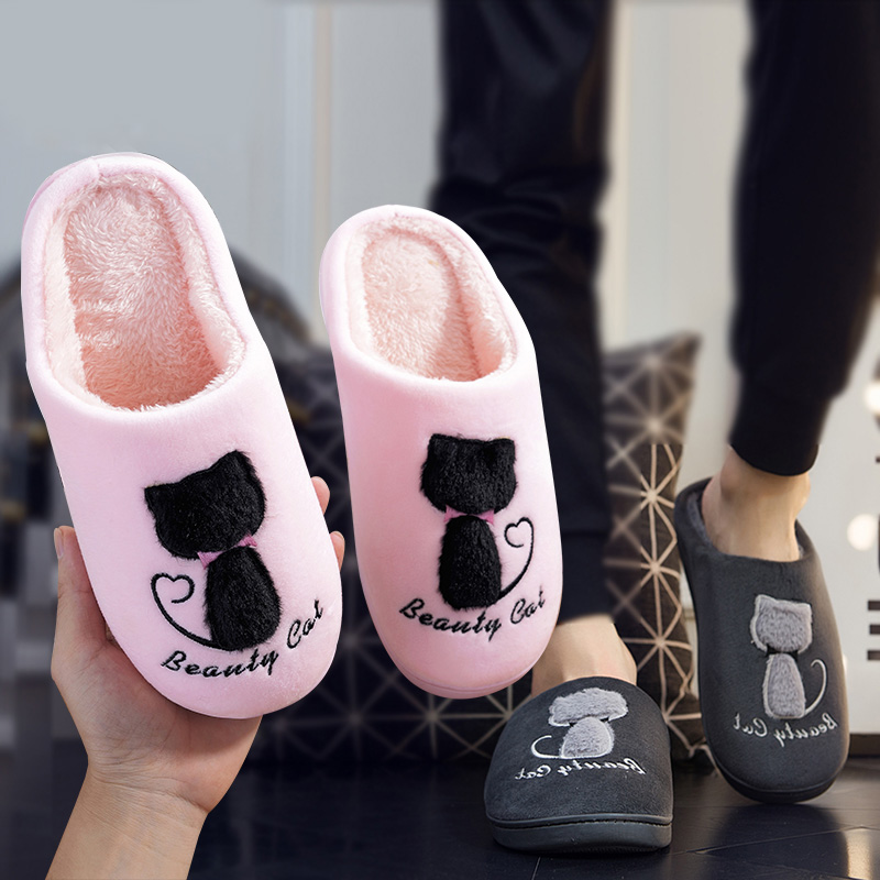 Home Slippers Soft Plush Cotton Cute Slippers Shoes Non-slip Floor Indoor House Home Fur Slippers Women Shoes For Bedroom soft plush big feet pattern winter slippers