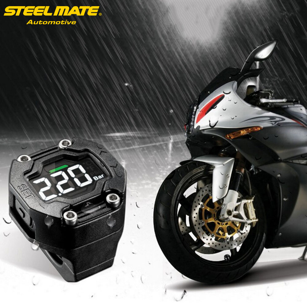 Steelmate ET-900AE DIY Motorcycle TPMS Tire Pressure Monitor Motorcycle Alarm System with External Sensor Wireless LCD Display steelmate tp 70 wireless diy tpms tire pressure monitor system car alarm system kit diagnostic tool lcd display with 4 sensors