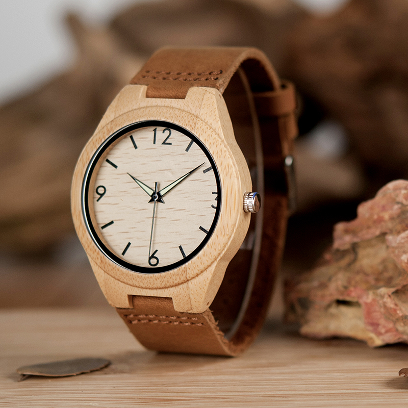 BOBO BIRD Men's Bamboo Watches With Leather Band Japan Movement Quartz Wristwatches Ideal Gifts C-A40 Accept DROP SHIPPING мягкая игрушка promise a nw113501 bobo 35cm