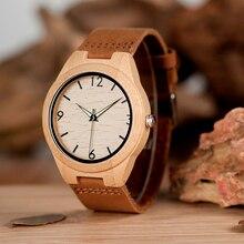 BOBO PÁSSARO de Bambu Dos Homens Relógios Com Pulseira De Couro Movimento Japão relógios de Pulso de Quartzo Presentes Ideais C-A40 Aceitar O TRANSPORTE da gota