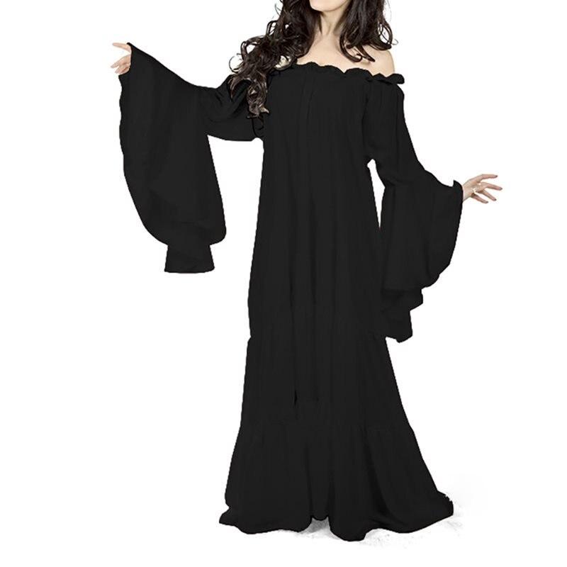 Белые вечерние элегантные длинные платья для женщин большого размера, расклешенные рукава средневековый винтажный халат сексуальный с отк...