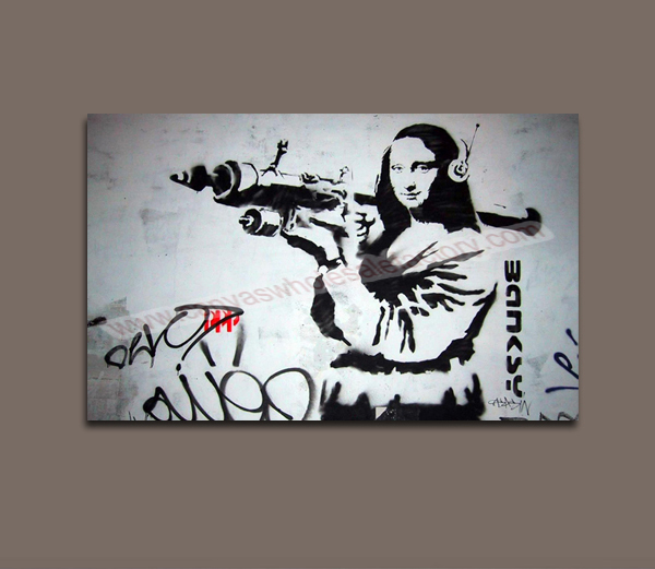 Wholesale classical home decoration painting canvas banksy for Banksy mural painted over