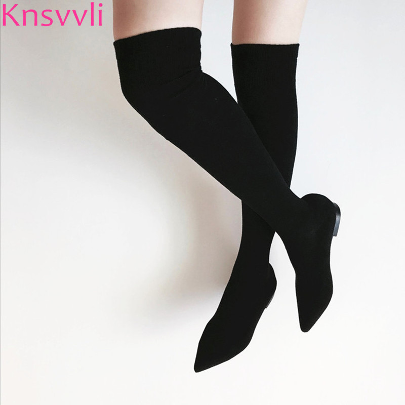 Knsvvli Knitting High Heel Women Over The Knee Boots Pointed Toe Sock Boots Woman Flat Shoes Black Grey Thigh High Stretch Boots