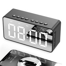 Bluetooth Speakers Clock Radio Alarm Clock LED Lights Speaker Mirror Display Support Aux TF Cards with Mic for Office Home Decor цена и фото