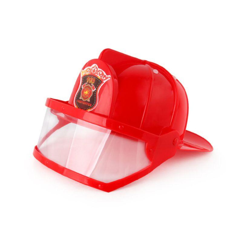 Children Fireman Helmet Firefighter Hat Fancy Dress Accessories Kids Halloween Party Role Play Toy