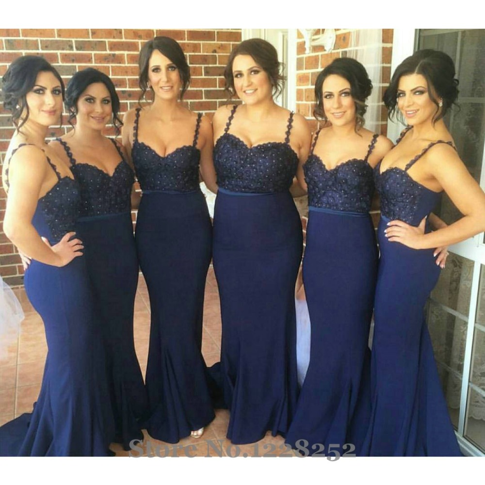Sexy navy blue bridesmaid dress with spaghetti straps beaded sexy navy blue bridesmaid dress with spaghetti straps beaded appliques party dresses backless plus size bridesmaid dress mermaid in bridesmaid dresses from ombrellifo Images