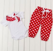 Baby Fall Autumn Outfits minnie mouse cotton romper and font b bottoms b font christmas sets