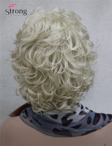 Image 4 - StrongBeauty Short Full Curly Synthetic Hair Wig For Women Platinum Blonde Color