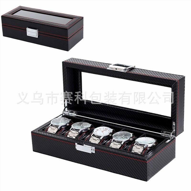 Boîte 5 Grille Noir Montre boîte De Boîtier de montre affichage montre en cuir Titulaire Cas De Stockage Organisateur