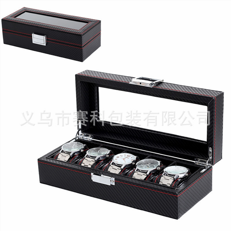 Box 5 Grid Black Watch Case watch box display leather watch Case Holder Storage Organizer black out watch box