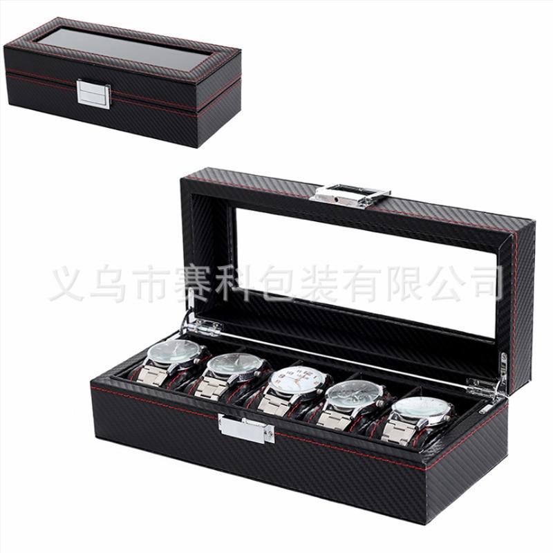 Box 5 Grid Black Watch Case watch box display leather watch Case Holder Storage Organizer