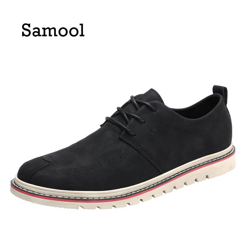 SAMOOL Autumn Fashion Men Casual Leather Shoes Khaki Sapatos Lace-Up Men Shoes Outdoor Fall Masculinos Soft Breathable Shoes aleader casual men genuine leather shoes fashion autumn hade made designer shoes dress shoes sapatos masculinos