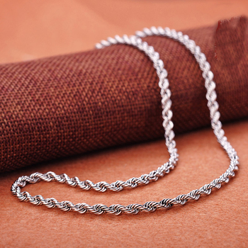 S925 Sterling Silver Necklace 19inch Rope Chain Women Necklace