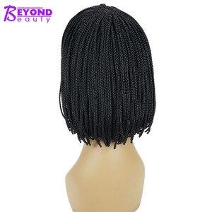 Image 3 - 12inch 합성 가발 짧은 꼰 상자 끈으로 묶은 가발 여성을위한 bangs 자연 블랙 pixie braids 가발 내열성 섬유