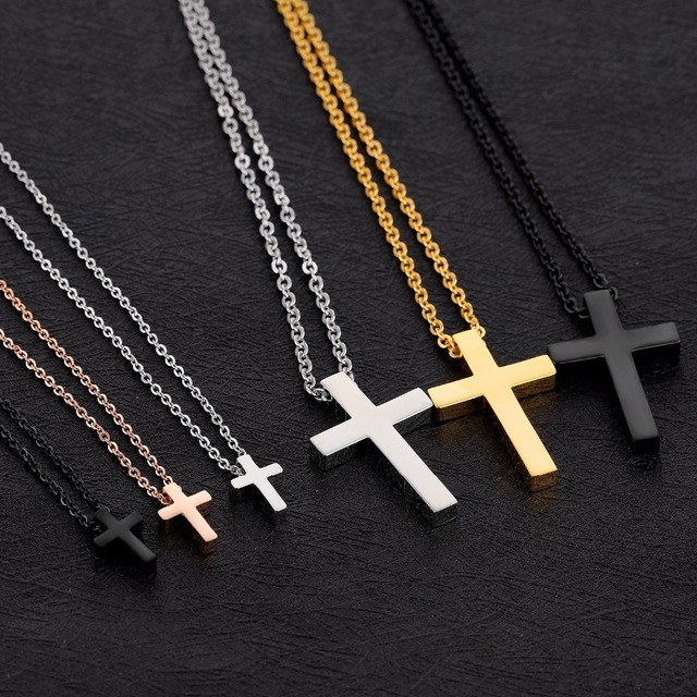 Simple Plain Tiny Cross Pendant Necklace in Stainless Steel - Silver, Rose Gold, Black, Gold