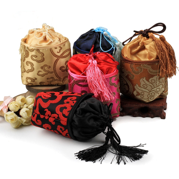 Tassel Floral Cloth Empty Tea Bags Sachet Christmas Bags Square Bottom Gift Bag Drawstring Chinese Silk Brocade Jewelry Pouch