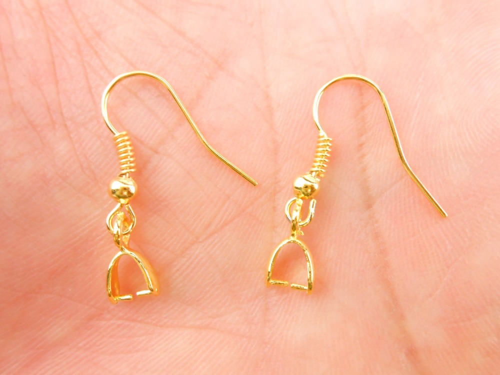 Free Shipping Wholesale 20PCS Beads Yellow Gold Filled Making Jewelry Findings Pinch Bail GF Hook Earring Earwire