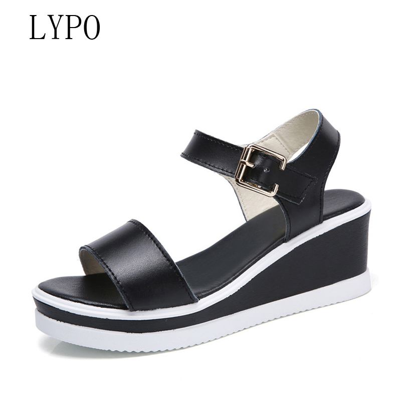 LYPO Hot Selling Women Summer Platform Sandals 2018 New Fashion Flat Shoes Wedges Open-toe Women Sandals sandalia feminina hot 2018 summer new fashion women sandals wedges shoes high heel sandals platform open toe buckle casual shoes