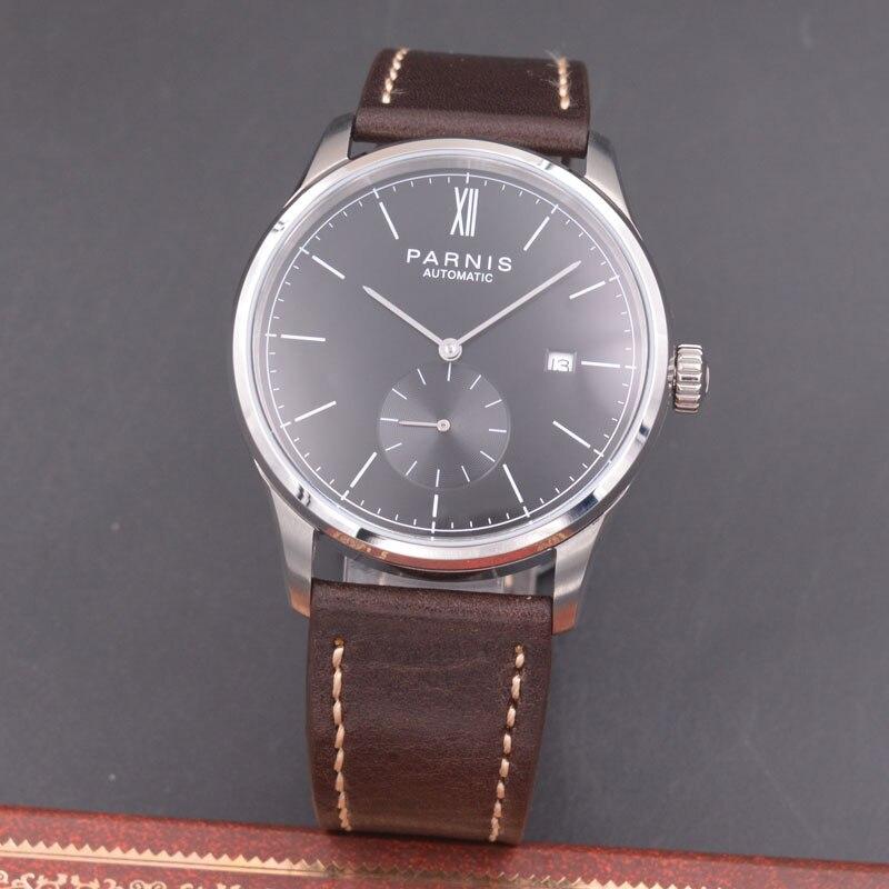 цена Parnis 42mm watch black dial calendar Seagull Movement Automatic mechanical men watch PN606 онлайн в 2017 году