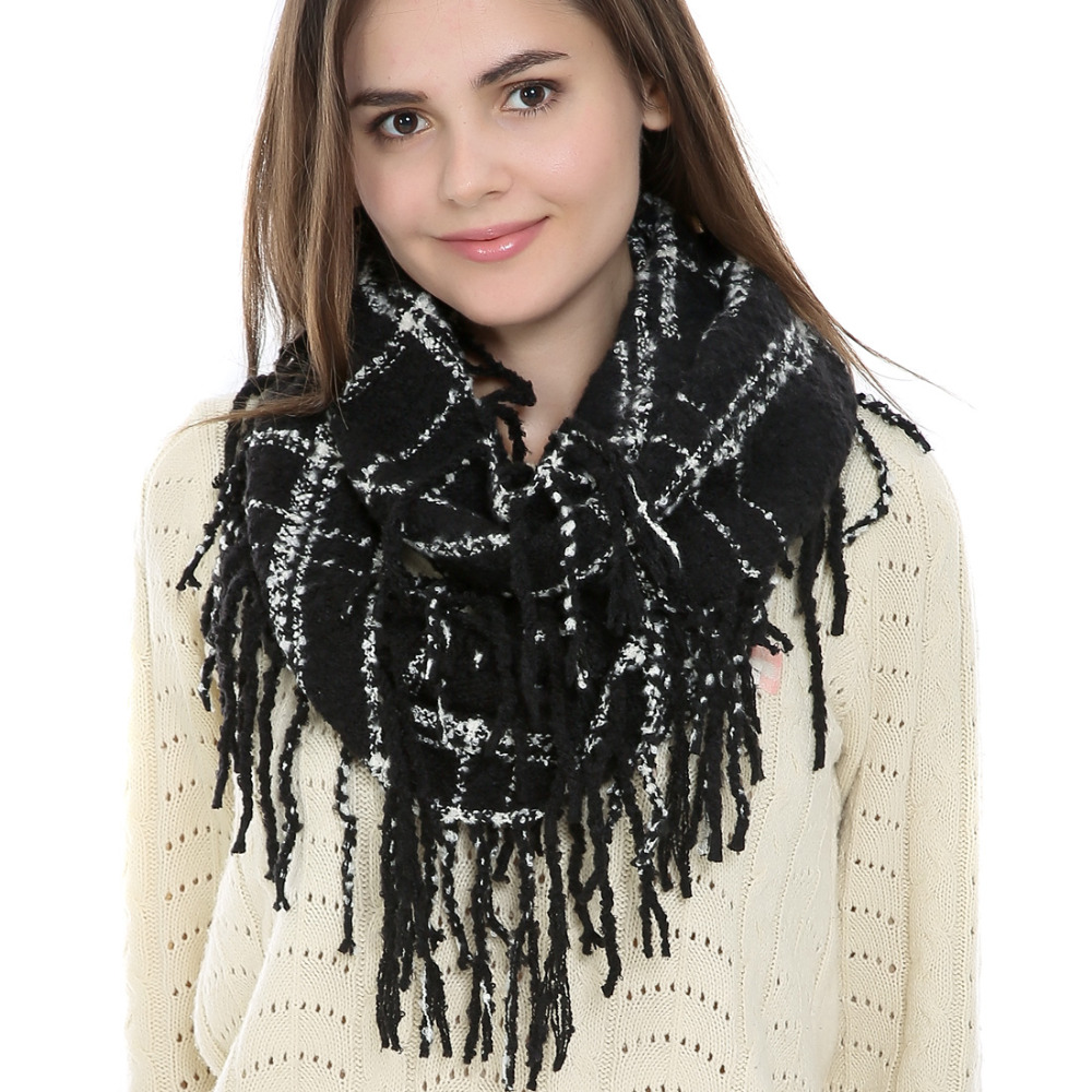 FAYBOX 2016 Winter Cozy Tassel Fringe Infinity Scarf Fashion font b Tartan b font Plaid Ring