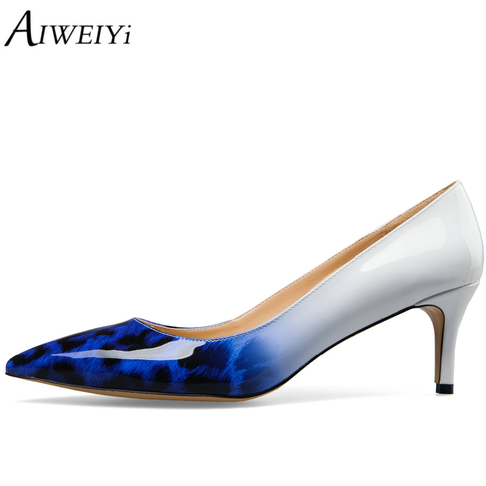 AIWEIYi Women's Patent Leather Med Heels Pointed Toe Kitten Heels Pumps Party Stiletto Shoes Slip On Ladies Wedding Shoes newest flock blade heels shoes 2018 pointed toe slip on women platform pumps sexy metal heels wedding party dress shoes
