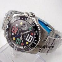 Sólida BLIGER 40 MM Mostrador Preto Relógio dos homens Função Rotativa Bisel GMT Cerâmica Vidro de Safira Movimento Automático Data Lupa