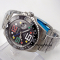 Solid BLIGER 40 мм черный циферблат Мужские часы керамические вращающийся ободок функция GMT сапфировое стекло автоматическое движение Дата Лупа