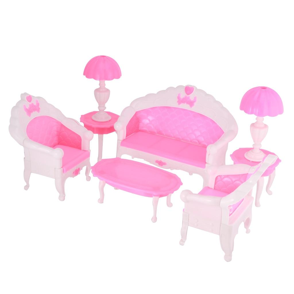 Dolls Accessory Plastic Pink Sofa Table Stool Lamp Set Dollhouse Furniture Set for Dolls Classic Dollhouse Miniature Furniture