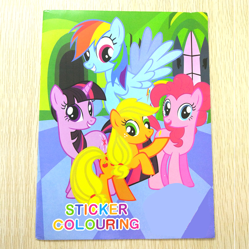 20x27CM 16 Page Pony Coloring Book Sticker Book Children Kids Books Adults Coloring Books Painting/Drawing/Art 2 Cover Patterns(China)