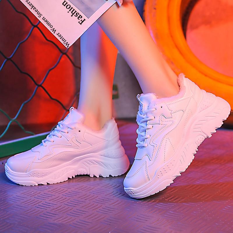 Pu Cuir bleu De Peluche Noir Dentelle Chaussures Femmes Chaud Appartements En blanc forme Casual Hiver up Sneakers Plate Mode wpqxtA