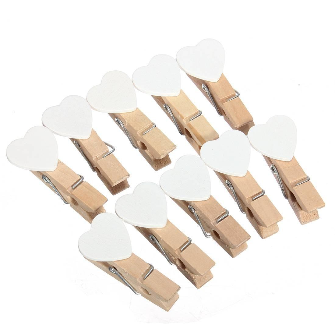 gsfy wholesale 50 pcs mini coeur pince a linge en bois pr papier photo maison decoration