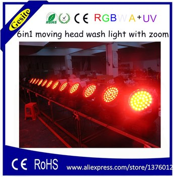 Dj aydınlatma 36 adet 18 W 6 in1 RGBWA + UV zoom LED hareketli kafa
