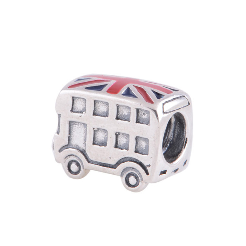 Pandulaso UK Flag London Bus Beads Fit Charms Bracelets Fashion DIY Silver 925 Beads for Women Making Sterling-Silver-Jewelry 2018 summer new moments black leather hand chain bracelets fit 925 sterling silver jewelry charms beads diy for women br066