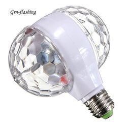 E27 6 วัตต์ที่มีสีสันหมุนหลอดไฟสองด้านที่เว้าเมจิกคริสตัลบอลผลแสงสำหรับงานปาร์ตี้คริสต์มา...
